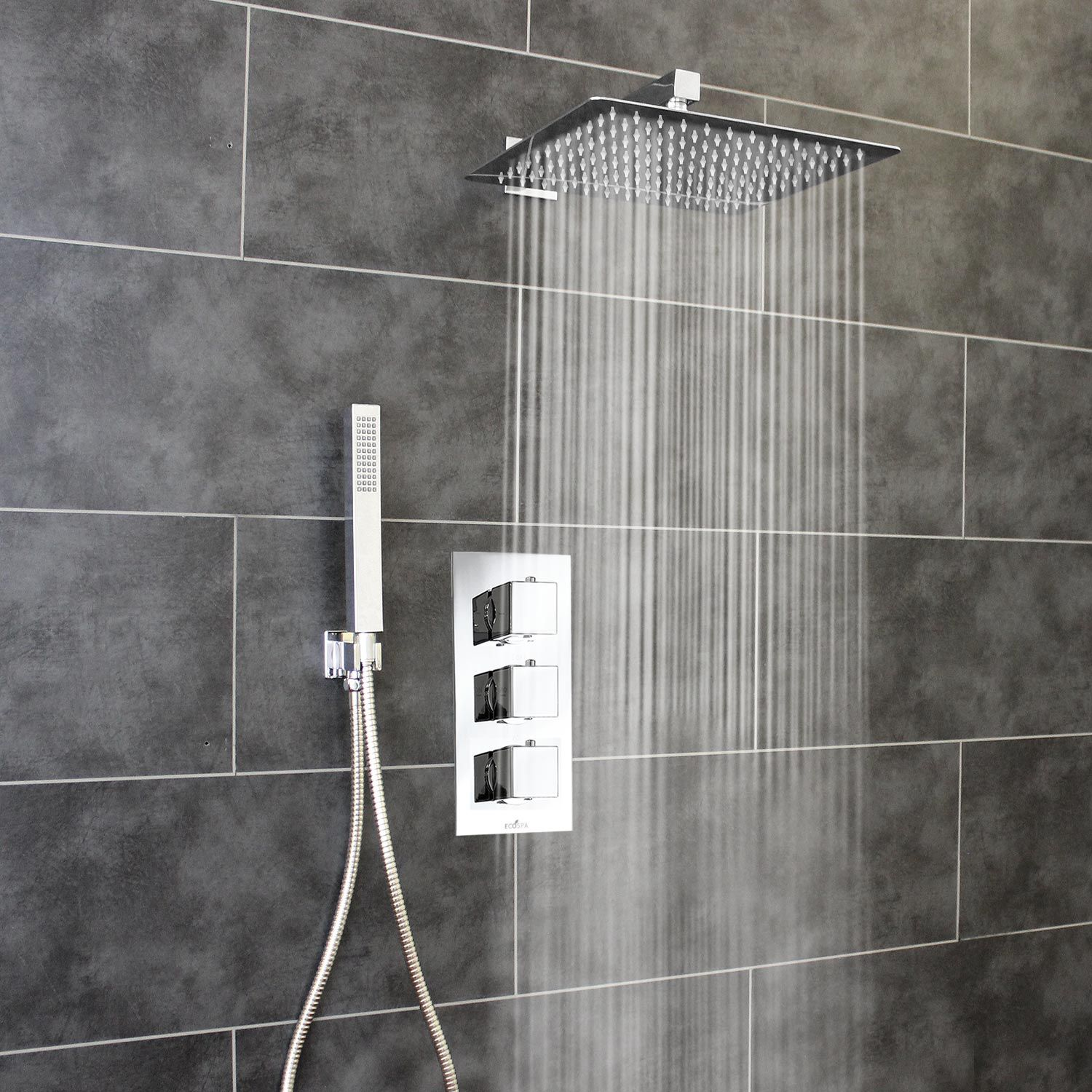 2 Way Shower Valve 3 Square Handles With Ultra Thin Large 300mm